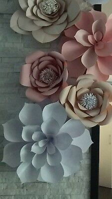 Set Of 7 Large Giant Paper Flowers For Wall Decor Or Baby Room