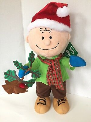 New Large Plush Peanuts Charlie Brown Christmas Holiday Winter Door Greeter