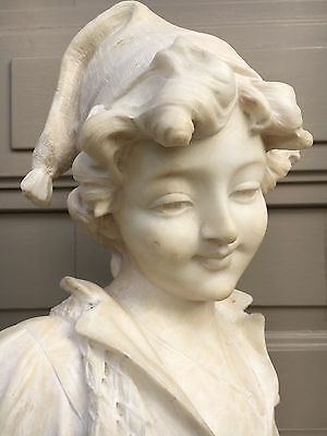 Adolfo CIPRIANI Alabaster Marble Bust of a young lady