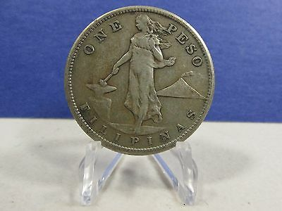 PHILIPPINES 1909 S One  Peso Silver Crown  AU #1