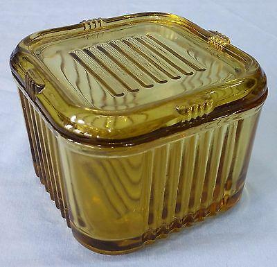 Vintage Square Amber Federal Glass Refrigerator Dish Depression Glass