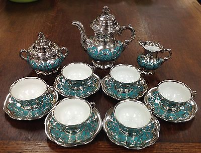 Vintage Hutschenreuther Silver Over Teal Porcelain Tea Set 17 Pieces Beautiful