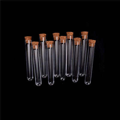 10Pcs/lot Plastic Test Tube With Cork Vial Sample Container Bottle##