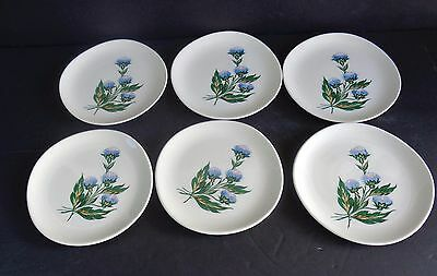 "Crooksville Iva-Lure J-9 Plates Made In U.s.a.""blue Clover""  (Set Of 6)"