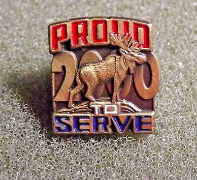 Moose Lodge 2000 Proud To Serve Lapel Pin Red White & Blue Patriotic Lettering