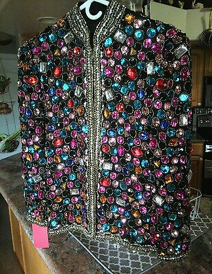 70's VICTORIA ROYAL AMAZING HEAVILY EMBELLISHED BEJEWELED JACKET 8 EXCELLENT