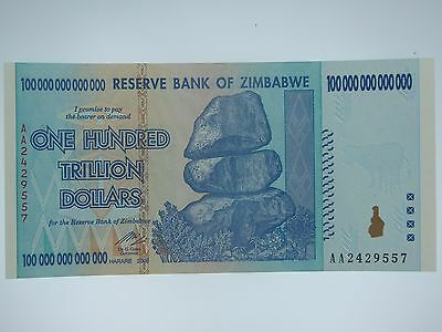Zimbabwe 100 Trillion Dollars, AA /2008,  UNC 100 Trillion Series (Bill #7)