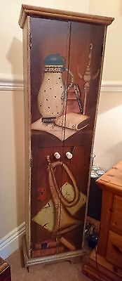 Antique Style Cupboard Cd Armoire Hand Painted Wooden Cabinet Music Unique