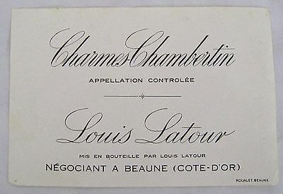 Vintage Wine Label Charmes-Chambertin Louis Latour Appellation Controlee