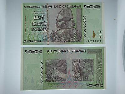 Zimbabwe 50 Trillion Dollars, AA/2008 Uncirculated UNC,  100 Trillion Series