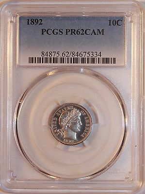 1892 PROOF BARBER DIME NGC PF62 CAMEO - 1,245 MINTED First Year of Issue.