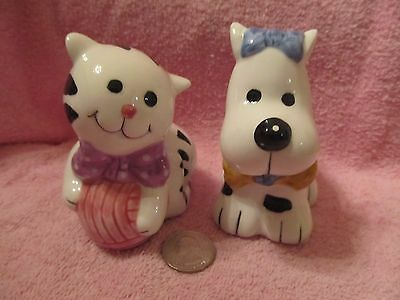 Cute Puppy And Kitty Salt And Pepper Shakers