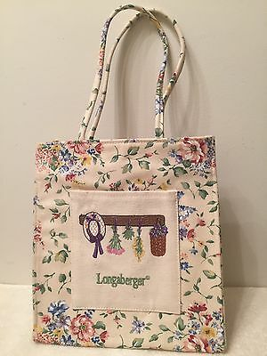 RARE LONGABERGER FLORAL CANVAS LUNCH TOTE BAG available only as HOSTESS GIFT NEW