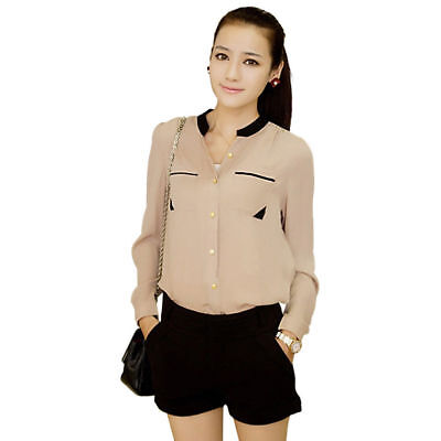 New Fashion Women Golden Button Stand Collar Chiffon Long Sleeve Shirt Blouse