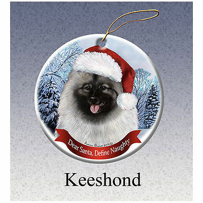 Keeshond Howliday Porcelain China Dog Christmas Ornament