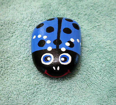 Handpainted Lucky LADYBUG River Rock Stone Art Painted Lady Bug Figurine BLUE