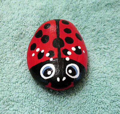 Handpainted Lucky LADYBUG River Rock Stone Art Painted Lady Bug Figurine RED