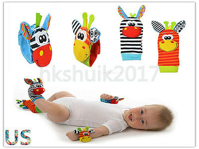 4PCS set Cute Animal Infant Kids Hand Wrist Bell Foot Sock Rattles Soft Baby Toy