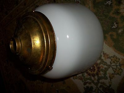 Vintage Art Deco Brass Ceiling Light Fixture Milk Glass