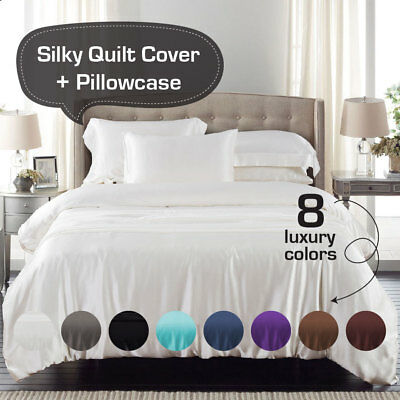Silky Satin Single/KS/Double/Queen/King/Super K Size Bed Quilt/Duvet Cover Set