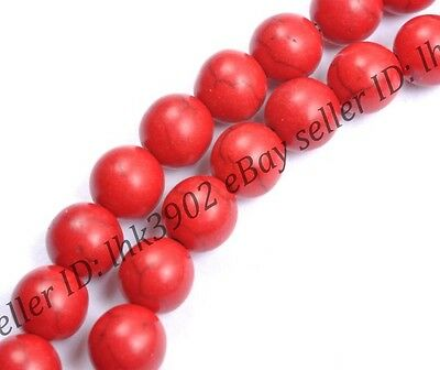 50pcs  Round Red Turquoise Gemstone Spacer Loose Beads Charms Jewelry 6MM