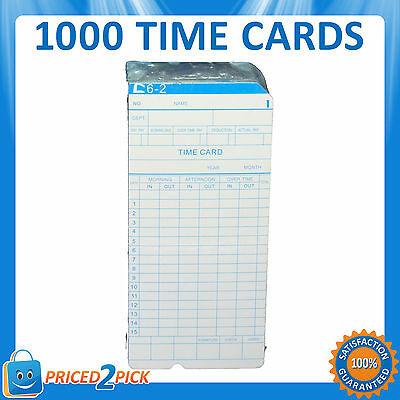 1000 x Employee Bundi Time Clock Cards Cardboard Card 84x185mm (10 x 100 packs)