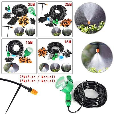 15M 25M DIY Micro Drip Irrigation System Plant Watering Garden Hose Kit Drippers