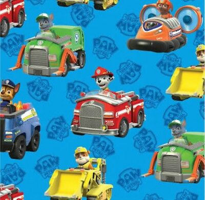 Paw Patrol Blue Rescue Cars Fabric * New  *  In Stock * Free Post *