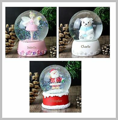 Personalised Snow Globe Any Name Christmas Birthday Gift Fairy Polar Bear Santa