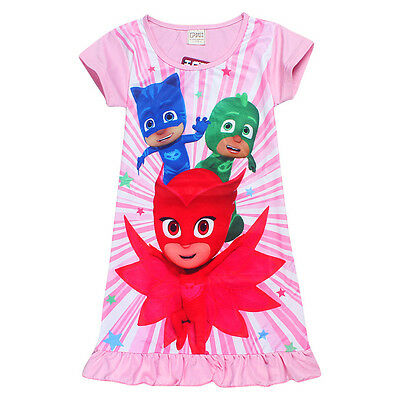 Girls PJ MASKS OWLETTE Summer Nightie Kids Pjs. Sizes 4, - 7 AU STOCK FREE POST.