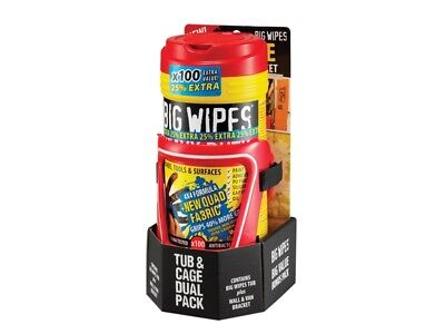 Red Top Heavy-Duty Wipes Tub of 80+25% Inc Bracket