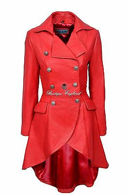 EDWARDIAN Ladies Leather Jacket Red Washed Victorian Gothic Coat 3491
