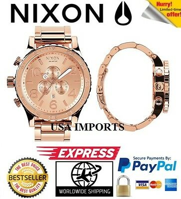 Nixon 51-30 Chrono Rose Gold Mens Watch A083-897 A083897 stainless steel