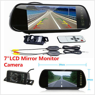 "LCD 7"" Mirror Monitor +Wireless Car Rear View Reverse Night Vision Backup Camera"