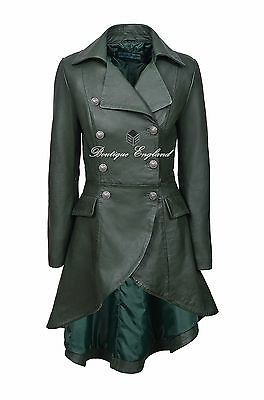Ladies Leather EDWARDIAN Coat GREEN Gothic STYLE REAL LEATHER 3492
