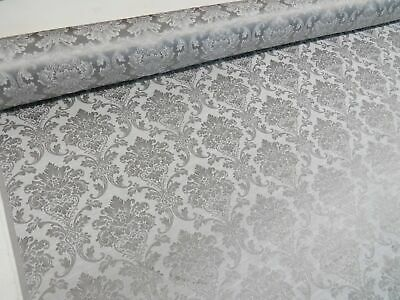 Madagascar Silver Grey Designer Curtain Damask Upholstery Furnishing Fabric
