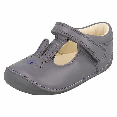Clarks Girls Little Glo Anthracite Leather T-Bar First Shoe Cruisers