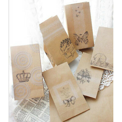 6pcs Clear Sticker Brown Kraft Paper Bags Gift Bread Candy Wedding Party Bag