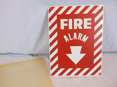 "Vintage Fire Alarm Metal Sign Industrial Warehouse Factory ""Not Decal"" NOS"
