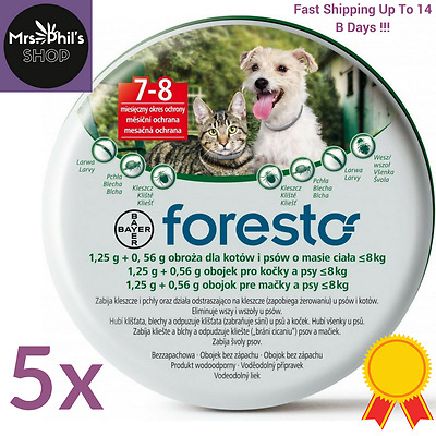 5PACK - Seresto/Foresto Bayer Flea & ticks 38cm Collar for Small Dogs and Cats