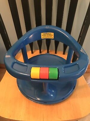 Safety 1st First Blue Locking Swivel Baby Infant Bath Tub Chair Seat Ring Suctio