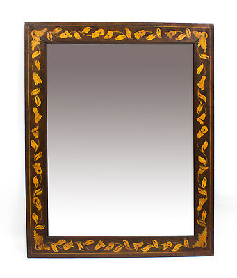 Antique Dutch Flame Mahogany & Floral Marquetry Mirror C1820  80x64 cm