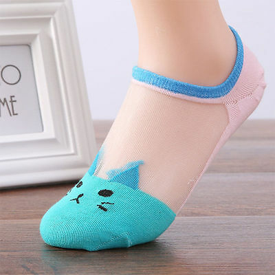 Women Summer Fashion Cat Silk Casual Ankle High Low Cut Invisible Light Blue