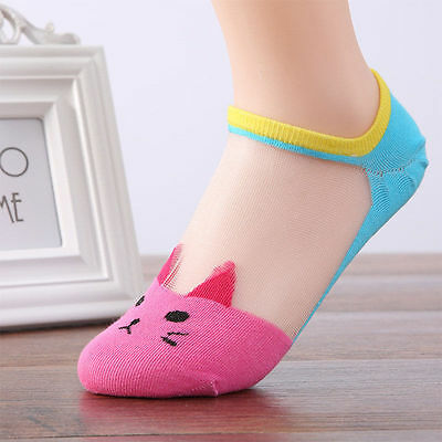Women Summer Fashion Cat Silk Casual Ankle High Low Cut Invisible Pink
