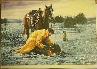 LEANIN TREE Western Christmas Cards NIP 12 w Envelopes Horse Dog Snow Fire 2558