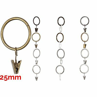 Curtain Metal Rings & Clips or Plastic Hooks For 25mm Pole/Rod 4Color & 3Type