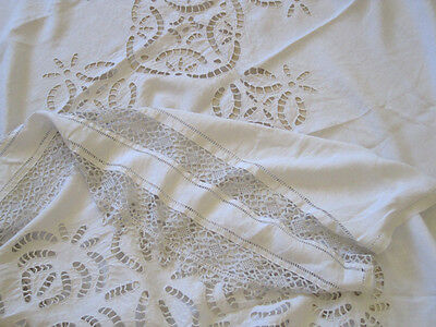 Antique French Pure Linen Tablecloth Superb Openwork Embroidery and Crochet Lace
