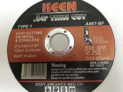 1 KEEN #14040 Slice-It Cutting Blade Cut-Off Wheel 5 x .045 x 7/8