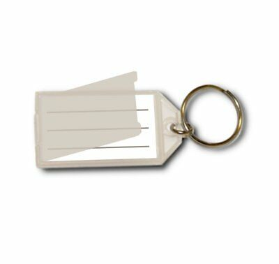 Open & Close Flap Plastic Key Tag - 10 Tags Clear