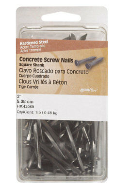 "Hillman Concrete Screw Nails 2 "" Square Steel Card 1 Lb. Pack of 3"